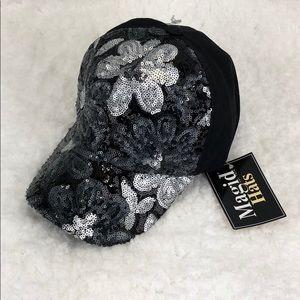 NWT silver & black sequin baseball hat